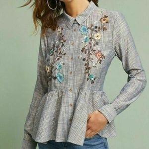 Long sleeve Antropologie peplum button down shirt